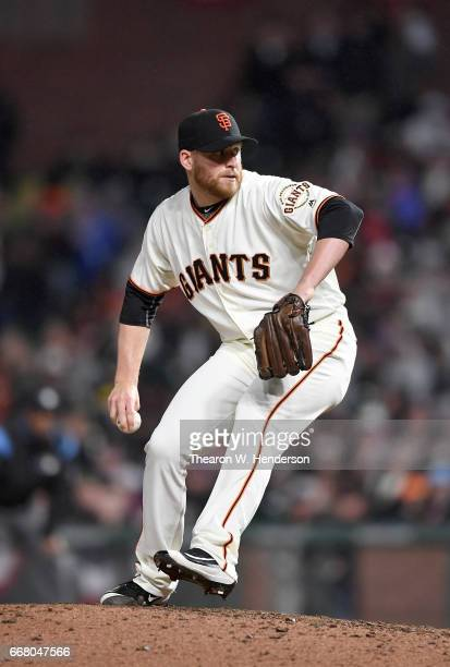 Neil Ramirez of the San Francisco Giants pitches against the Arizona Diamondbacks in the top of the eighth inning at ATT Park on April 11 2017 in San...