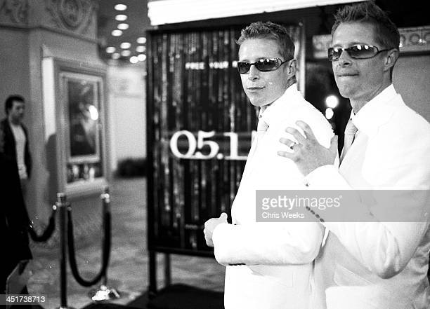Neil Rayment Adrian Rayment during The Matrix Reloaded Premiere Black White Photography by Chris Weeks at Mann Village Theater in Westwood California...