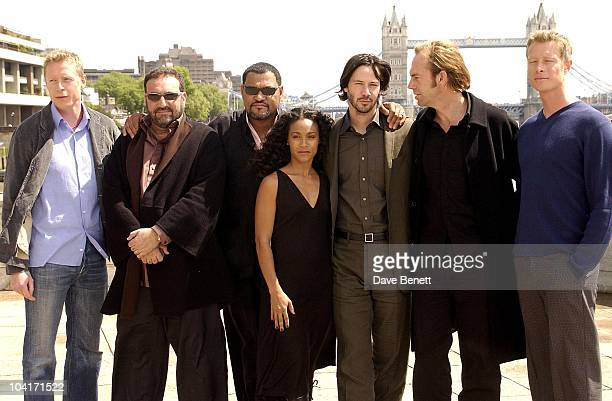 Neil Rayment Joel Schumacher Laurence Fishburne Jada Pinkett Smith Keanu Reeves Hugo Weaving And Adrian Rayment 'The Matrix Reloaded' Movie Cast...