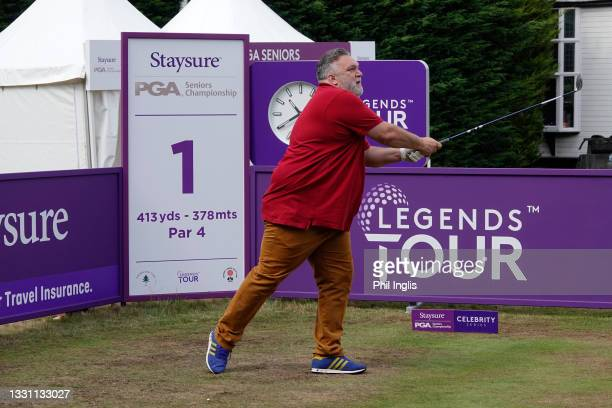 Neil 'Razor' Ruddock in action during the ProAm ahead of the Staysure PGA Seniors Championship at Formby Golf Club on July 28, 2021 in Formby,...