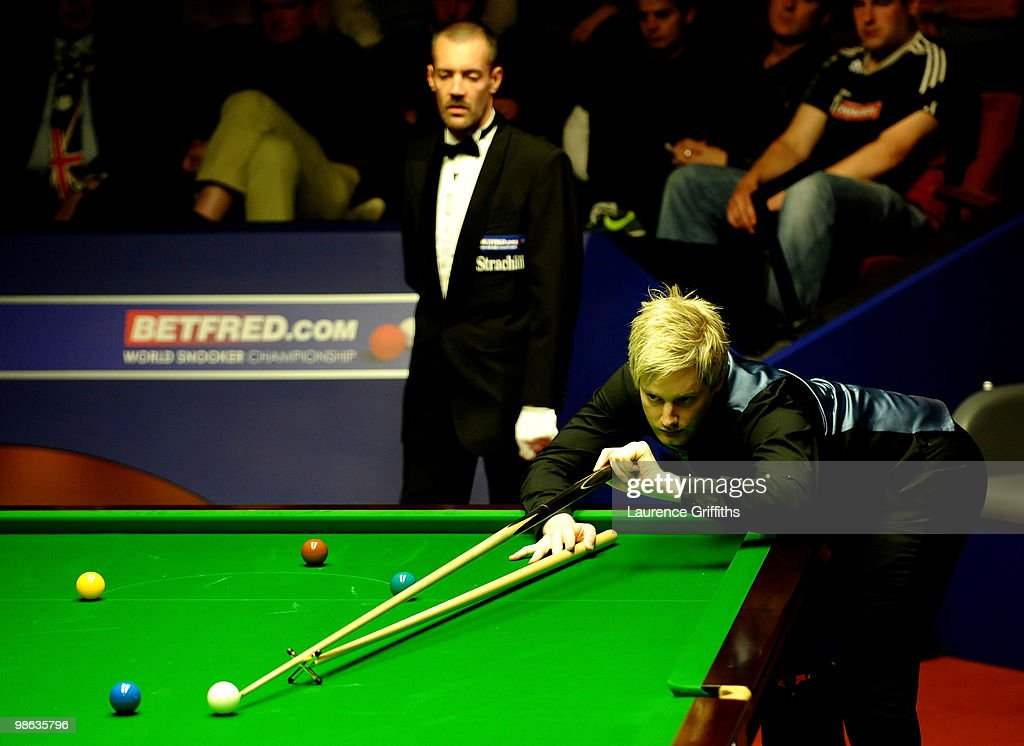 Neil Robertson of Australia in action during his match against Martin Gould of England inthe Betfred.com World Snooker Championships match at The Crucible Theatre on April 23, 2010 in Sheffield, England.