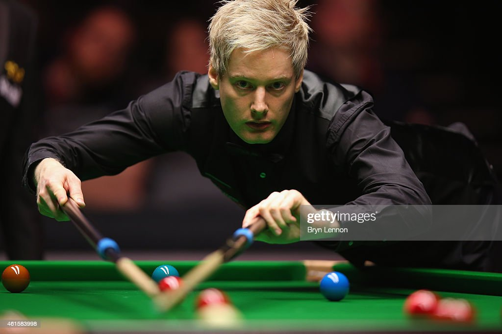 Neil Robertson of Australia in action during his quarter-final match against Allister Carter on Day Five of the 2015 Dafabet Masters at Alexandra Palace on January 15, 2015 in London, England.
