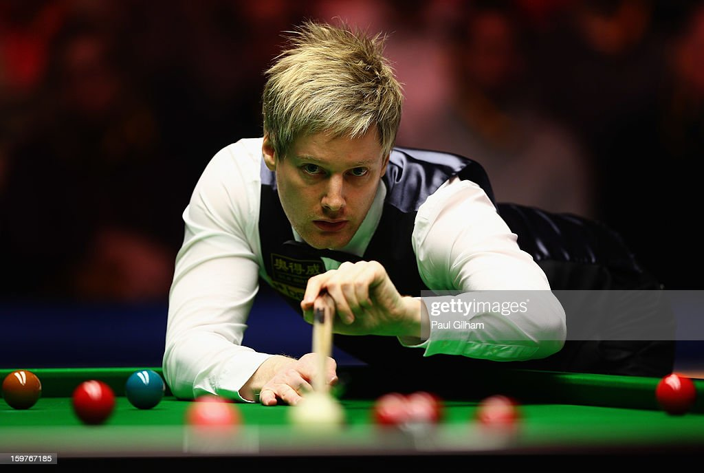 Neil Robertson of Australia in action during The Masters Final between Mark Selby of England and Neil Robertson of Australia at Alexandra Palace on January 20, 2013 in London, England.