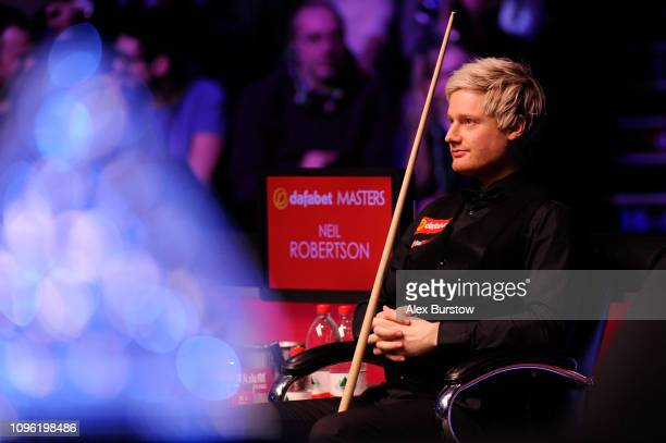 Neil Robertson of Australia looks on during his quarterfinal match against Barry Hawkins of England on day six of the 2019 Dafabet Masters at...