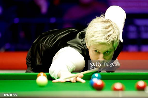 Neil Robertson of Australia plays a shot during his first round match against Jordan Brown of Northern Ireland during 2019 Welsh Open on February 12,...