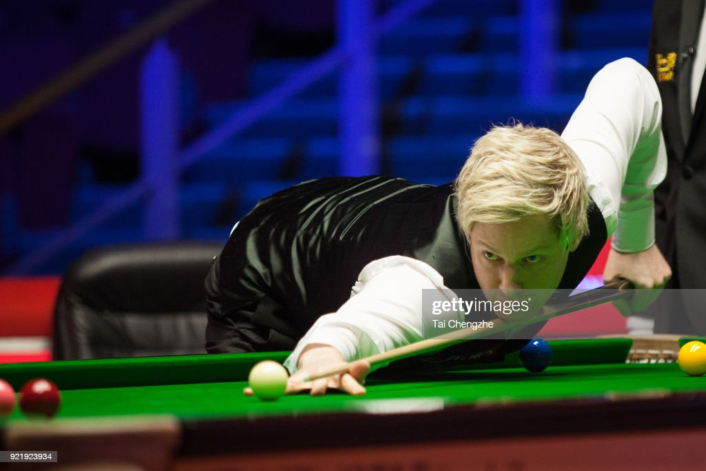 Neil Robertson of Australia plays a shot during his first round match against David Gilbert of England on day two of 2018 Ladbrokes World Grand Prix at Guild Hall on February 20, 2018 in Preston, England.