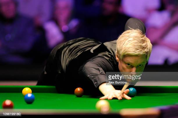Neil Robertson of Australia plays a shot during his quarter-final match against Barry Hawkins of England on day six of the 2019 Dafabet Masters at...