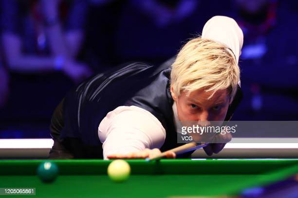 Neil Robertson of Australia plays a shot during the final match against Graeme Dott of Scotland on day seven of 2020 Coral World Grand Prix at the...