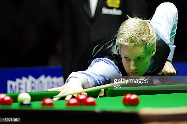 Neil Robertson of Australia plays a shot in the match against Matthew Selt of England on day two of 2015 Australian Goldfields Open at Bendigo...
