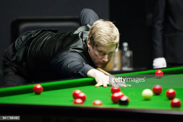 Neil Robertson of Australia plays a shot in the second round match against Sam Craigie of England during day three of the 2018 China Open at Olympic...