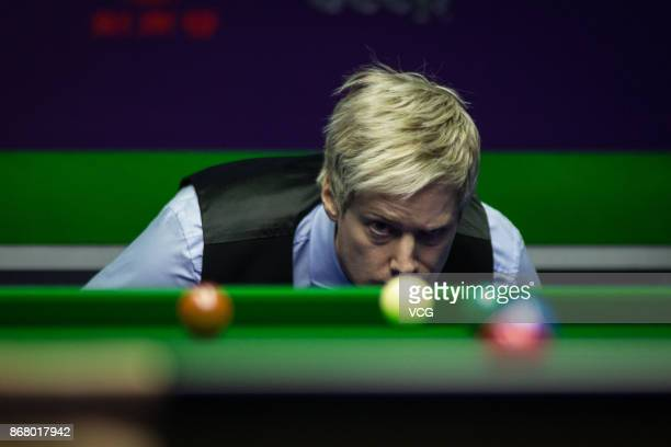 Neil Robertson of Australia reacts during the first round match against Gary Wilson of England on Day one of the 2017 World Snooker International...