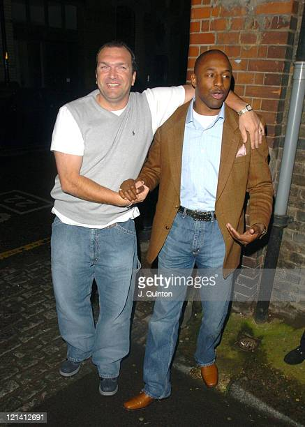Neil Ruddock and John Fashanu during I'm A CelebrityGet Me Out Of Here Third Anniversary Party at Delfina Gallery in London Great Britain