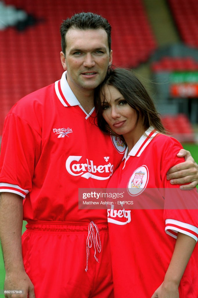 competitive price fab10 6cbcd Neil Ruddock and Kathy Lloyd wearing the new Liverpool kit ...