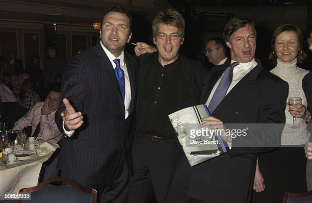 Neil Ruddock Mike Reid and Lord Brockett attend the 2004 Tric Awards at The Grovesnor House Hotel on March 10 2004 in London