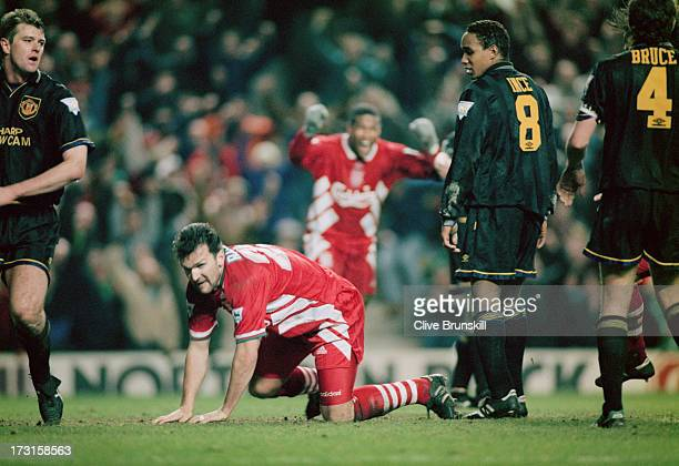 Neil Ruddock of Liverpool heads in the third goal against Manchester United as Paul Ince looks on Anfield Liverpool 4th January 1994 The Premier...