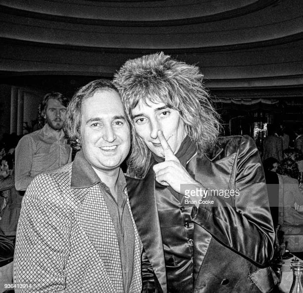 Neil Sedaka and Rod Stewart photographed at a reception for The Pointer Sisters at the Biba Restaurant in Kensington London on 10th January 1974
