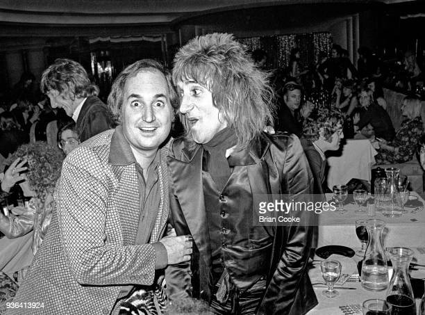 Neil Sedaka and Rod Stewart photographed at a reception for The Pointer Sisters at the Biba Restaurant in Kensington, London on 10th January 1974.