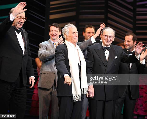 Neil Simon Sean Hayes Hal David Rob Ashford taking a bow on the Opening Night Broadway performance Curtain Call for PROMISES PROMISES at the Broadway...