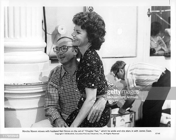 Neil Simon with wife Marsha Mason on the set of film 'Chapter Two' 1979