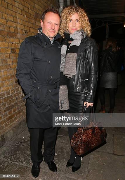 Neil Stuke and Sally Ann Stuke leaving the Weir press night on January 21 2014 in London England