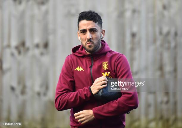 Neil Taylor of Aston Villa arrives at the stadium prior to the Premier League match between Burnley FC and Aston Villa at Turf Moor on January 01,...