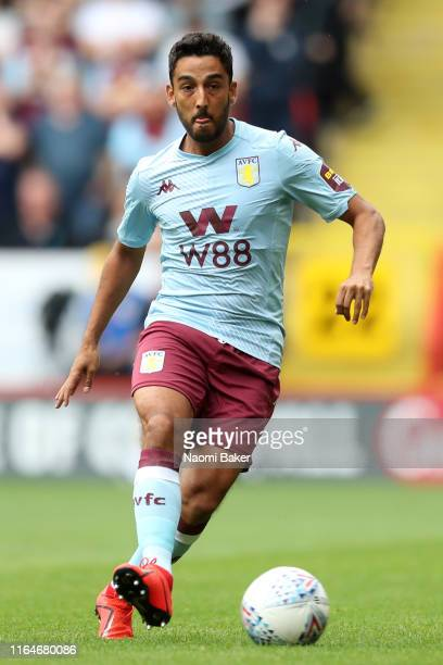 Neil Taylor of Aston Villa controls the ball during the Pre-Season Friendly match between Charlton and Aston Villa at The Valley on July 27, 2019 in...