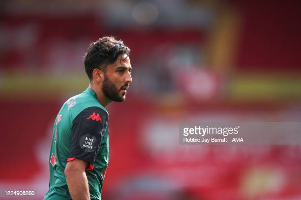Neil Taylor of Aston Villa during the Premier League match between Liverpool FC and Aston Villa at Anfield on July 5, 2020 in Liverpool, United...