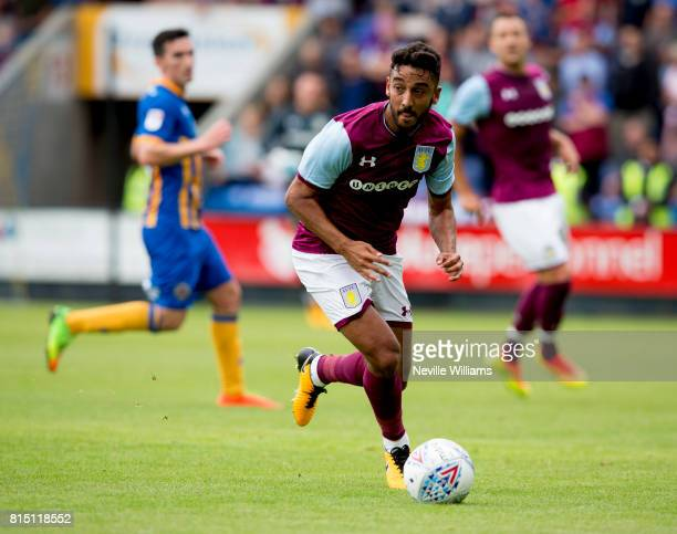 Neil Taylor of Aston Villa during the PreSeason Friendly match between Shrewsbury Town and Aston Villa at the Greenhous Meadow on July 15 2017 in...