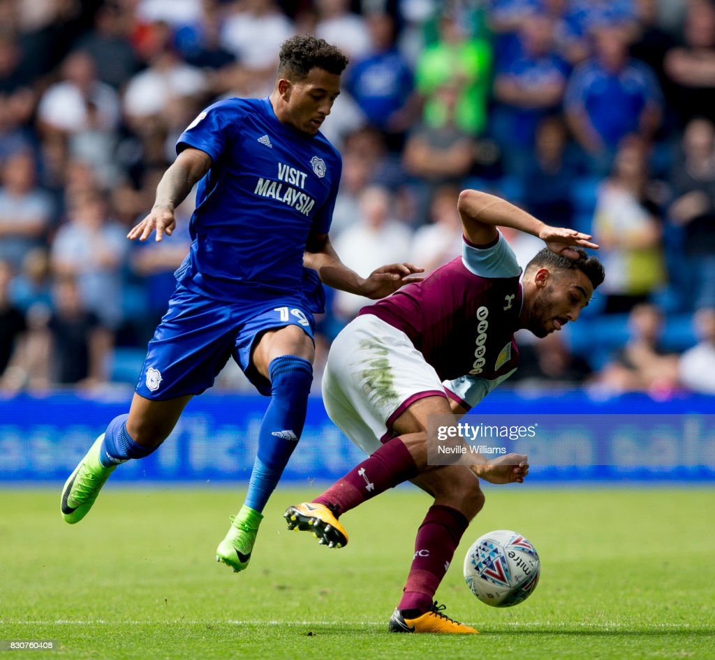 Neil Taylor of Aston Villa during the Sky Bet Championship match between Cardiff City and Aston Villa at the Cardiff City Stadium on August 12, 2017 in Cardiff, Wales.