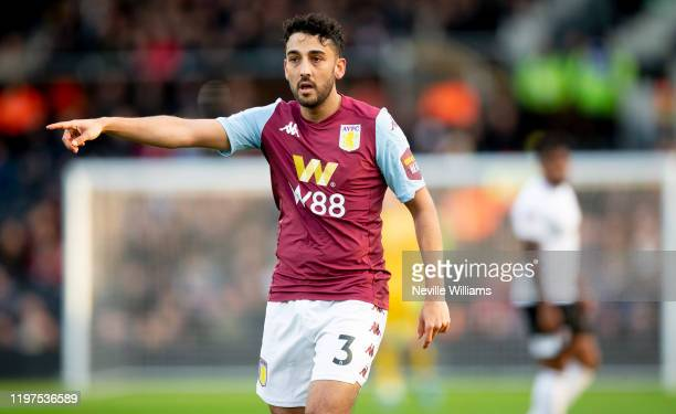 Neil Taylor of Aston Villa in action during the FA Cup Third Round match between Fulham and Aston Villa at Craven Cottage on January 04, 2020 in...