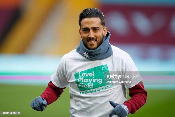 Neil Taylor of Aston Villa looks on during the Premier League match between Aston Villa and Wolverhampton Wanderers at Villa Park on March 06, 2021...