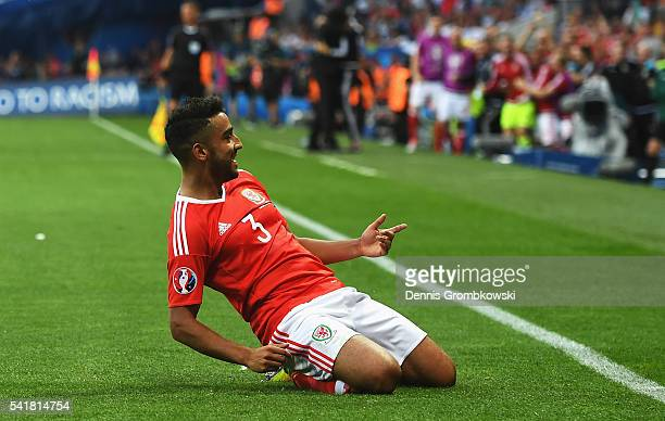 Neil Taylor of Wales celebrates scoring his team's second goal during the UEFA EURO 2016 Group B match between Russia and Wales at Stadium Municipal...