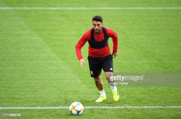 Neil Taylor of Wales controls the ball during Wales Training Session at The Vale Resort on September 02, 2019 in Cardiff, Wales.