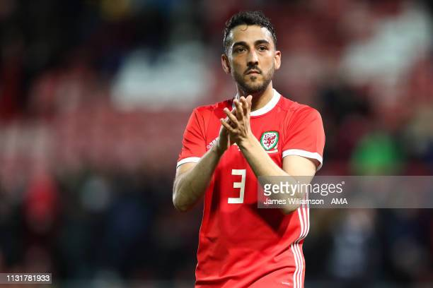 Neil Taylor of Wales during the International Friendly between Wales and Trinidad and Tobago at Racecourse Ground on March 20, 2019 in Wrexham, Wales.