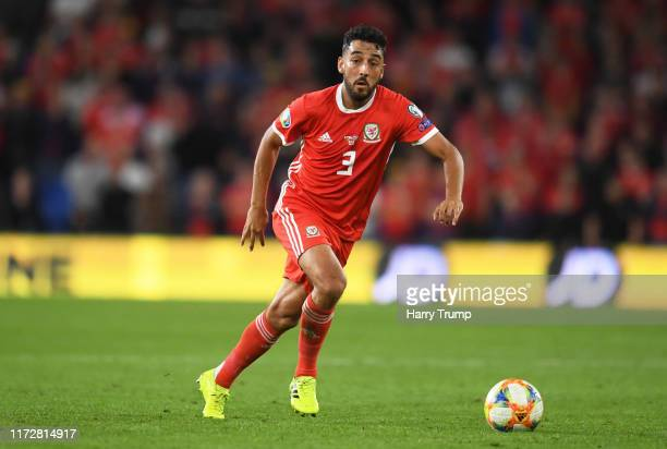 Neil Taylor of Wales during the UEFA Euro 2020 qualifier between Wales and Azerbaijan at Cardiff City Stadium on September 06, 2019 in Cardiff, Wales.