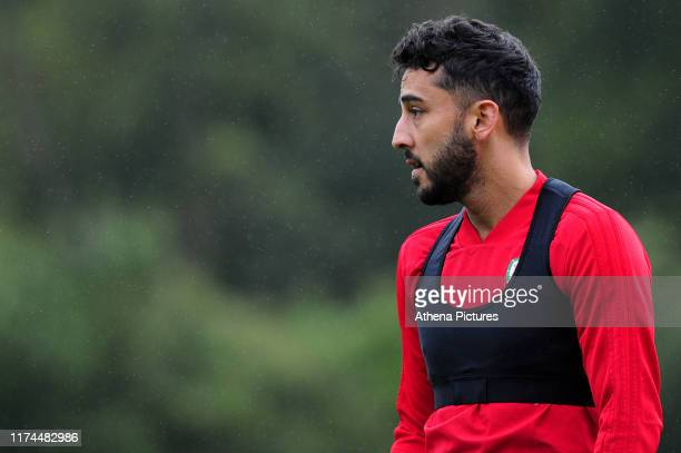 Neil Taylor of Wales during the Wales Training Session at The Vale Resort on October 7, 2019 in Cardiff, Wales.