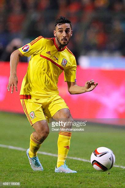 Neil Taylor of Wales in action during the Group B UEFA European Championship 2016 Qualifier match bewteen Belgium and Wales at King Baudouin Stadium...