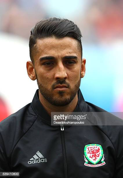 Neil Taylor of Wales is seen prior to the UEFA EURO 2016 Group B match between Wales and Slovakia at Stade Matmut Atlantique on June 11, 2016 in...