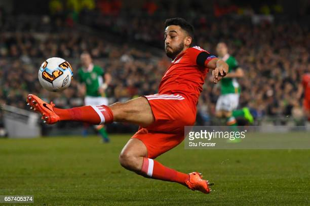 Neil Taylor of Wales stretches for the ball during the FIFA 2018 World Cup Qualifier between Republic of Ireland and Wales at Aviva Stadium on March...