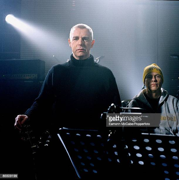 Neil Tennant and Chris Lowe of English synthpop duo Pet Shop Boys posed in 2002