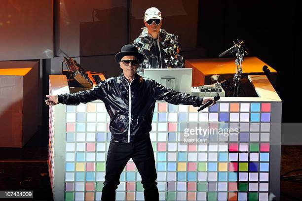 Neil Tennant and Chris Lowe of Pet Shop Boys perform an intimate show in aid of Mencap at Hammersmith Apollo on December 8 2010 in London England
