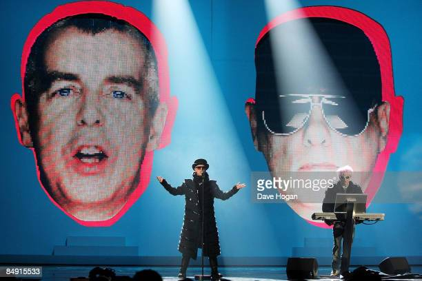 Neil Tennant and Chris Lowe of The Pet Shop Boys perform at the Brit Awards 2009 held at Earls Court on February 18 2009 in London England