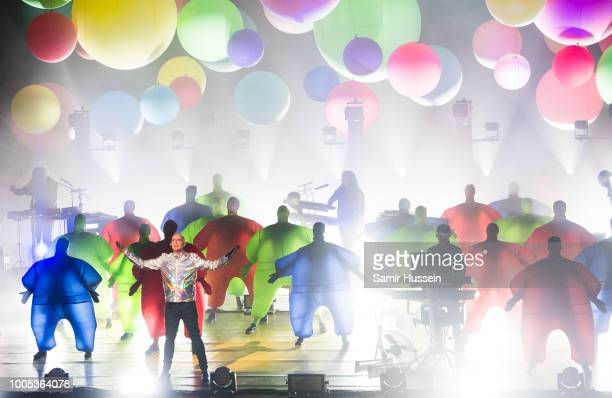 Neil Tennant and Chris Lowe of The Pet Shop Boys perform live on stage at The Royal Opera House on July 25 2018 in London England