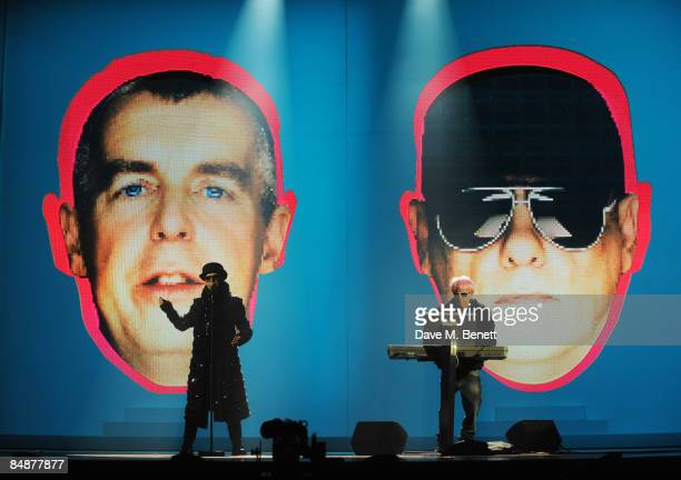 Neil Tennant and Chris Lowe of the Pet Shop Boys perform on stage during the rehearsals ahead of The Brit Awards 2009 at Earls Court One on February...