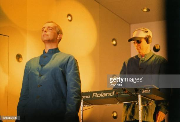 Neil Tennant and Chris Lowe of The Pet Shop Boys perform their 'Somewhere' show on stage at The Savoy Theatre on June 10th 1997 in London England