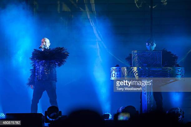 Neil Tennant and Chris Lowe of The Pet Shop Boys performs at LG Arena on June 13 2014 in Birmingham England