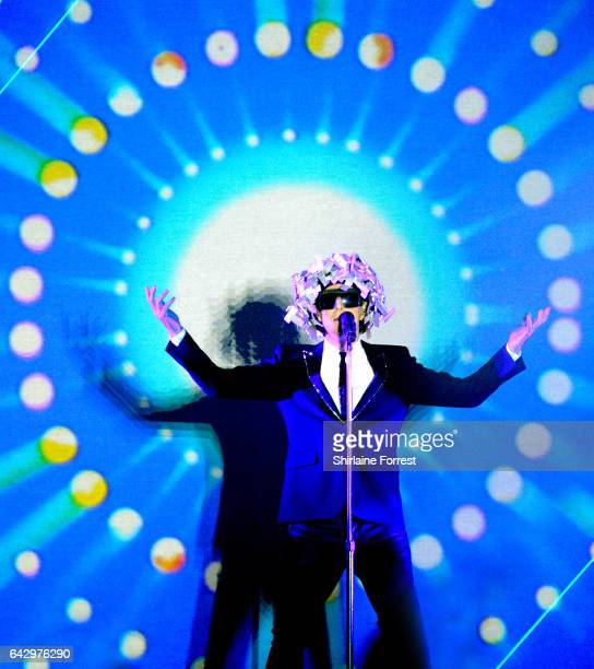 Neil Tennant of Pet Shop Boys performs at Manchester Arena on February 19 2017 in Manchester United Kingdom