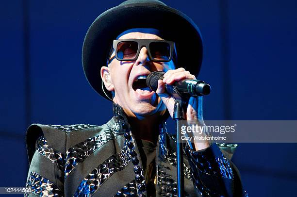 Neil Tennant of Pet Shop Boys performs on stage on the third day of Glastonbury Festival at Worthy Farm on June 26 2010 in Glastonbury England