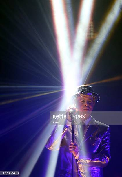 Neil Tennant of Pet Shop Boys performs on the stage in concert at MasterCard Center on August 22 2013 in Beijing China