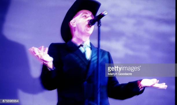 Neil Tennant of the Pet Shop Boys performs on stage at Glastonbury Festival 24th June 2000